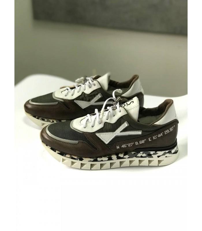 Кросівки коричневі з вставками з текстилю