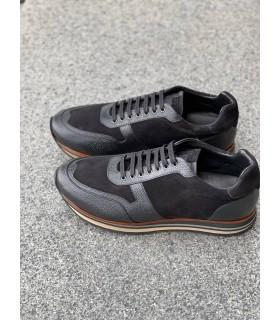 Кросівки чорні шкіряні із замшевими вставками - Respected-Person