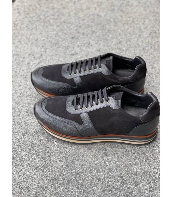 Кросівки чорні шкіряні із замшевими вставками