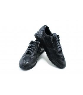 Кросівки чорні з натуральної шкіри під рептилію - Respected-Person