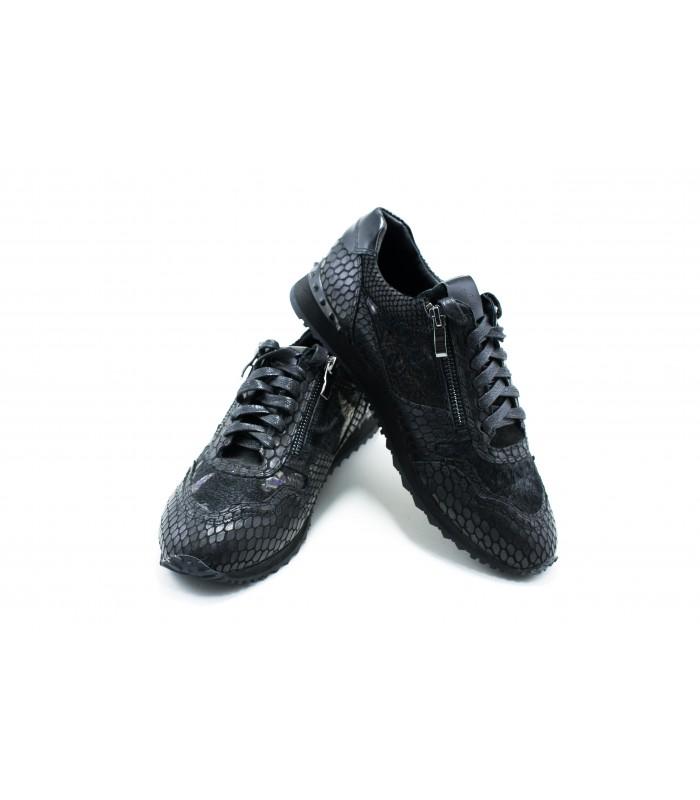 Кросівки чорні з натуральної шкіри під рептилію