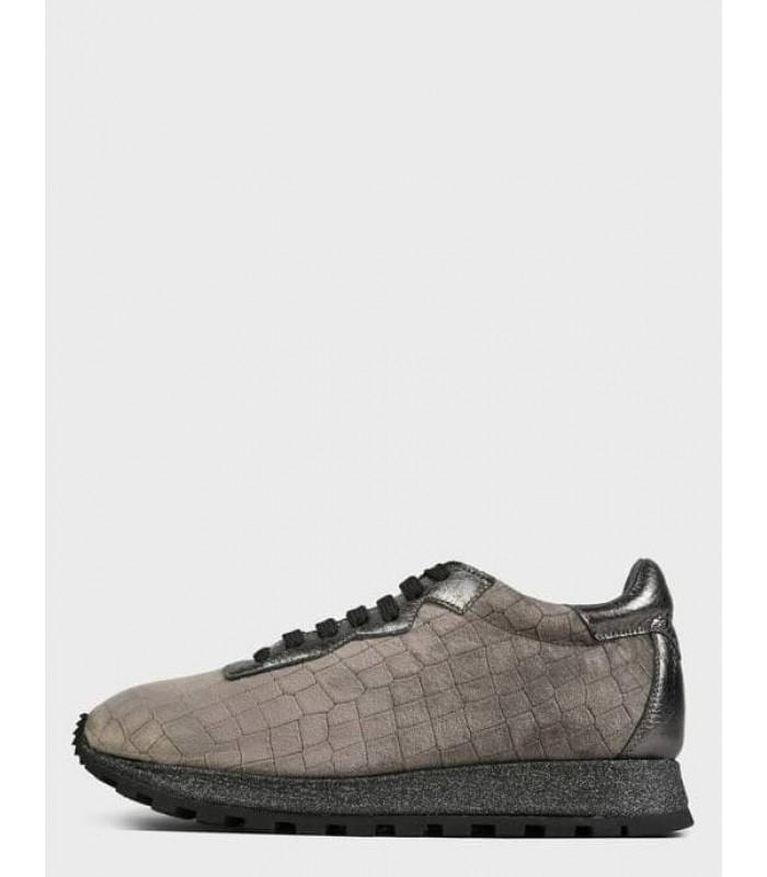 Кросівки сірі оксамитові на шнурівці