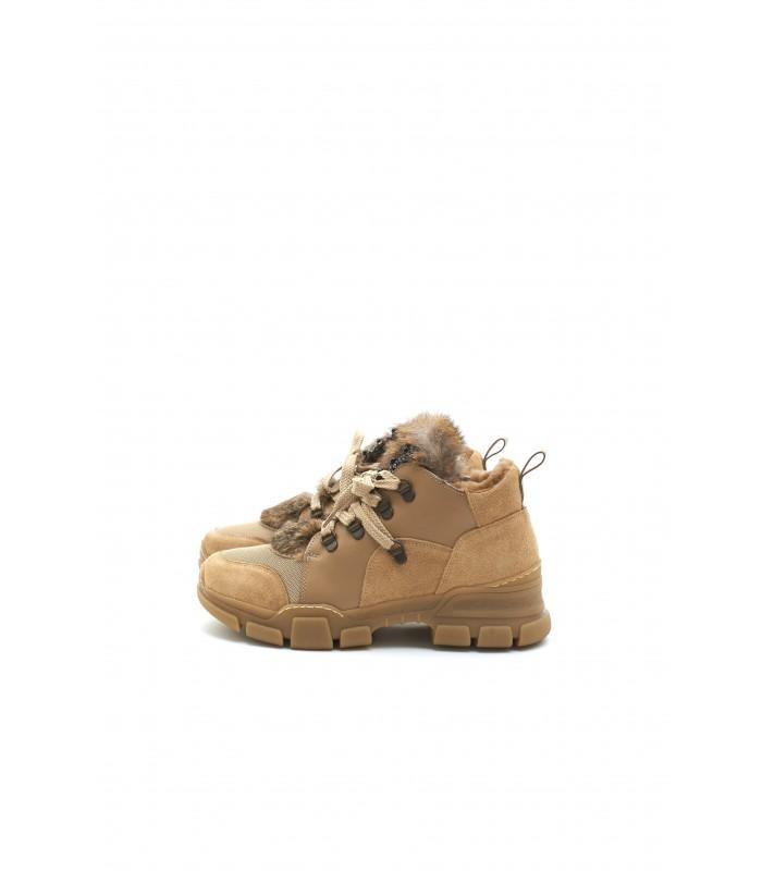 Кросівки коричневі замшеві на хутрі