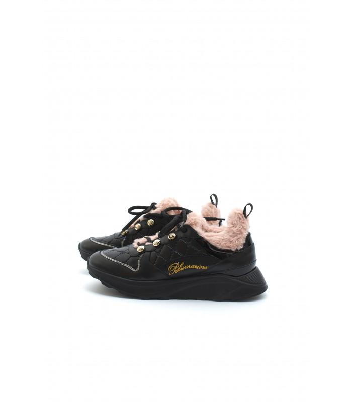 Кросівки чорні з рожевим на хутрі