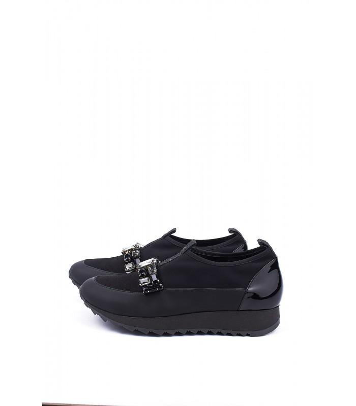 Кросівки чорні текстильні з камінням