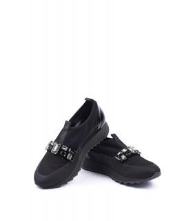 Кросівки чорні текстильні з камінням 1 - Respected-Person
