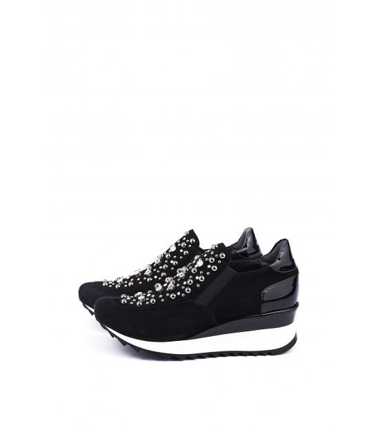 Кросівки чорні замшеві з камінням на танкетці - Respected-Person