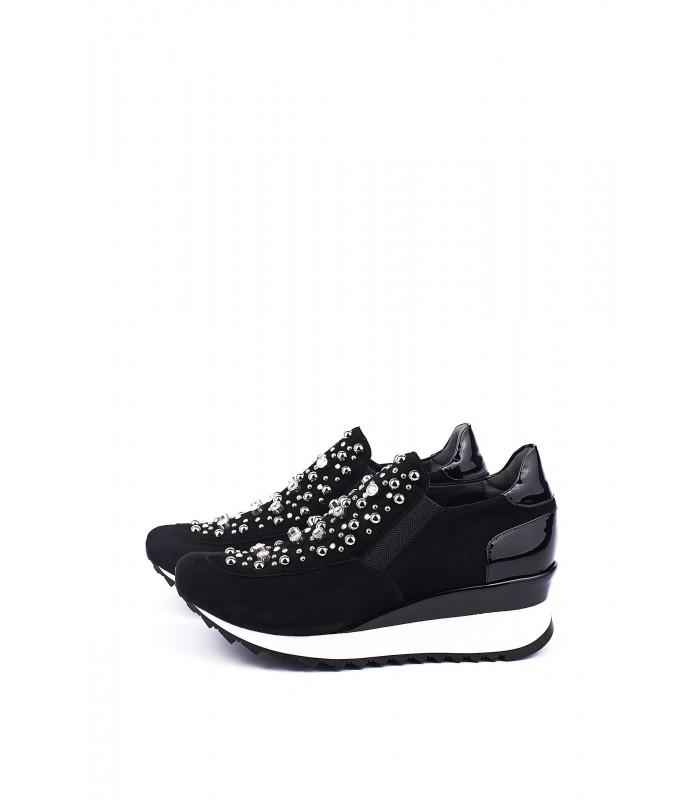 Кросівки чорні замшеві з камінням на танкетці