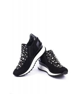Кросівки чорні замшеві з камінням на танкетці 1 - Respected-Person
