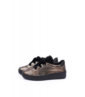 Туфлі-кеди бронзові на шнурвіці з оксамиту - Respected-Person