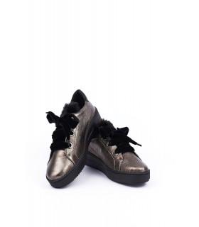 Туфлі-кеди бронзові на шнурвіці з оксамиту 1 - Respected-Person