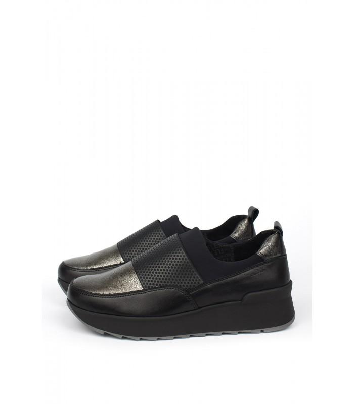 Кросівки бронзові шкіряні з резинкою