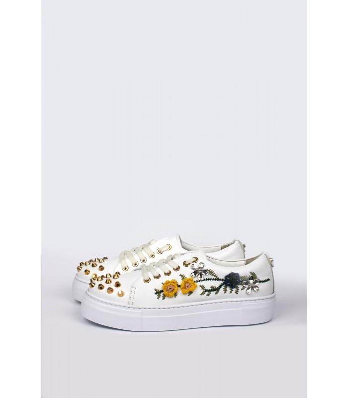 Кеди білі з жовтими квітами