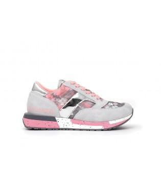 Кросівки сірі з рожевим в квіти
