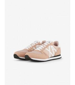 Кросівки пудрові з білим логотипом АХ