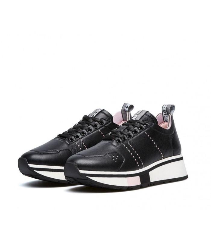 Кросівки чорні шкіряні з рожевим