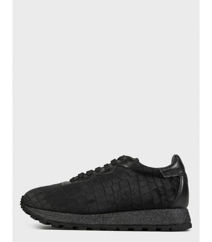 Кросівки чорні оксамитові на шнурівці