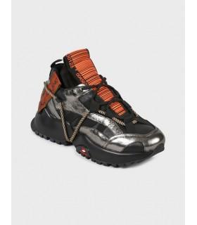 Кросівки чорні із сріблом на шнурівці 1 - Respected-Person