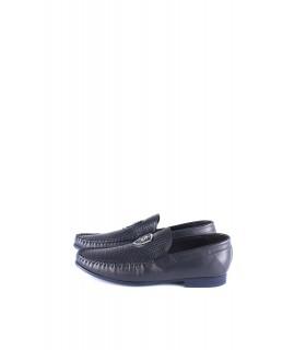 Туфлі-мокасини чоловічі сині з м'якої шкіри - Respected-Person