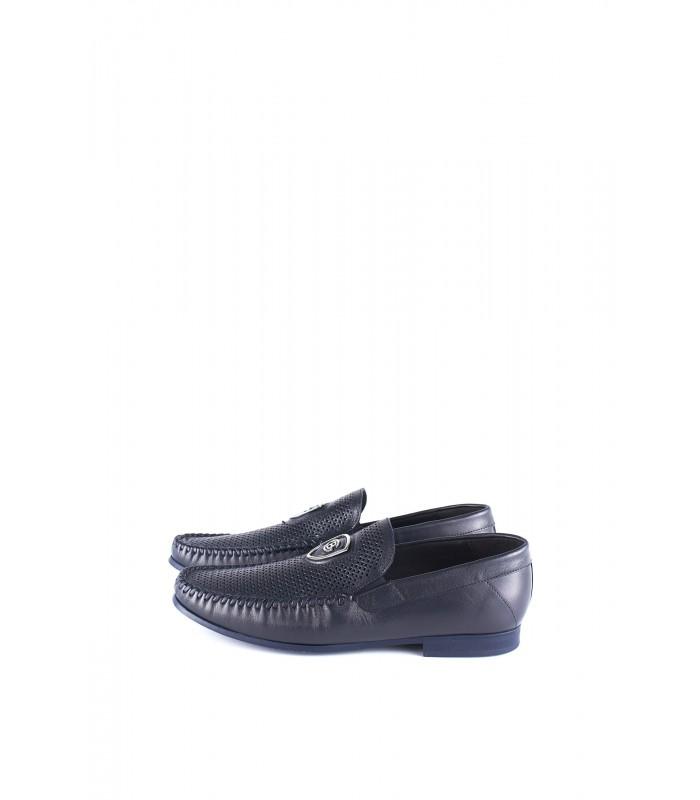 Туфлі-мокасини чоловічі сині з м'якої шкіри