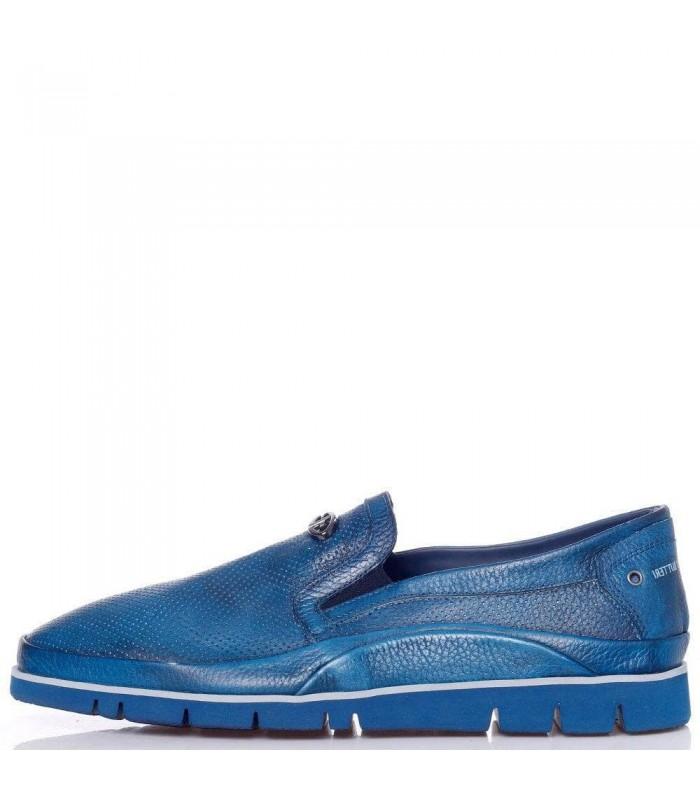 Туфлі-мокасини чоловічі сині з м'якої шкіри з перфорацією