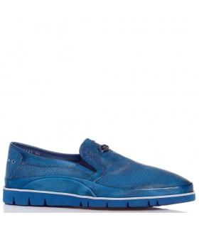 Туфлі-мокасини чоловічі сині з м'якої шкіри з перфорацією 1 - Respected-Person