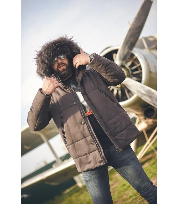 Куртка сіро-коричнева з натуральних хутром