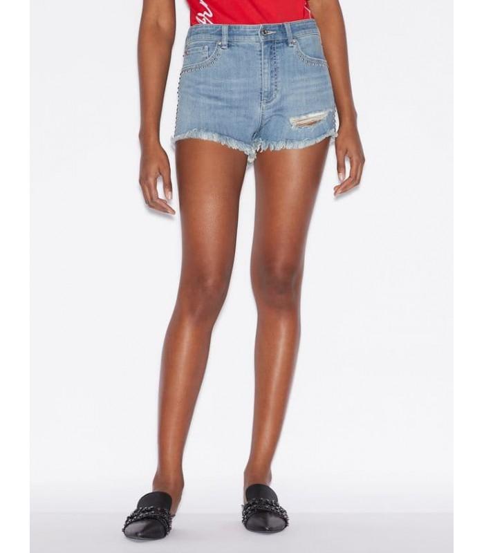 Шорти джинсові світлі із заклепками та бахромою