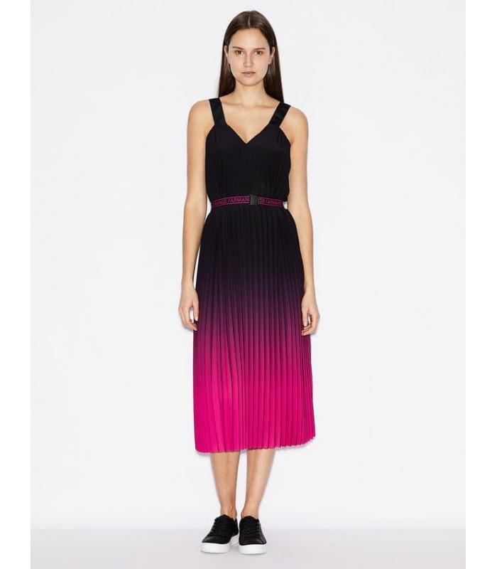 Сукня міді чорно-рожева плісе