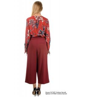 Блуза бордова  в квіти 1 - Respected-Person