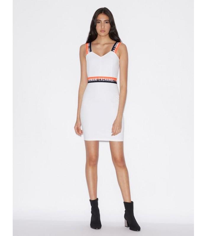 Сукня біла з оранжевою резинкою