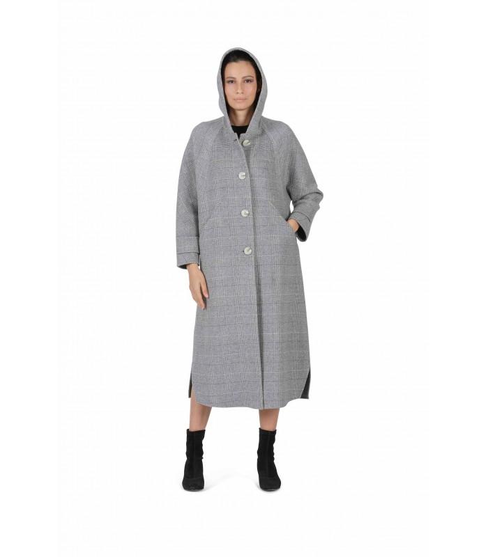 Пальто сіре довге з капюшоном