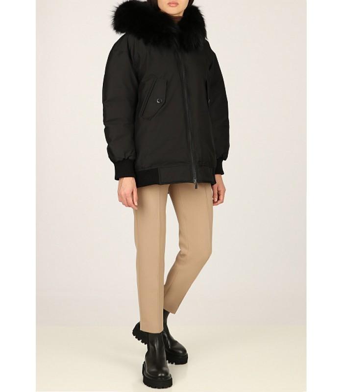 Куртка-бомбер чорна з капюшоном