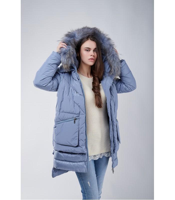 Куртка блакитна з накладними карманами