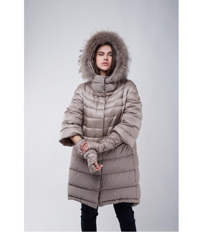 Куртка коричнево-сіра з широким рукавом