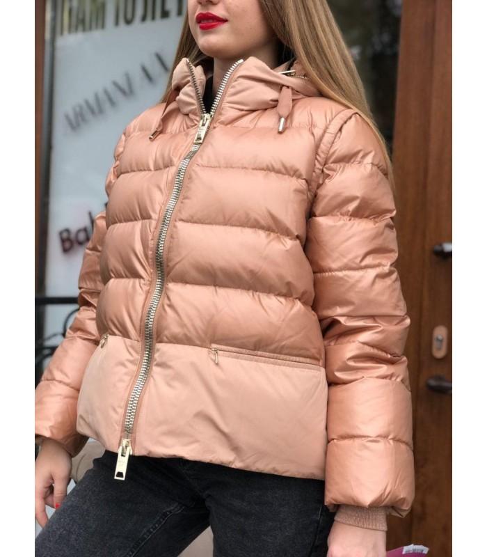 Куртка персиково-золота на пуху