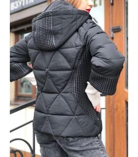 Куртка чорна з трикотажними вставками 1 - Respected-Person