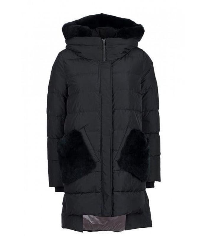 Куртка чорна з кишенями з хутра