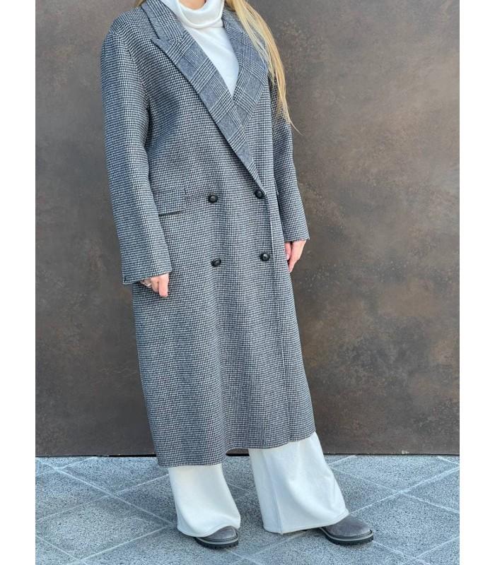 Пальто сіре довге