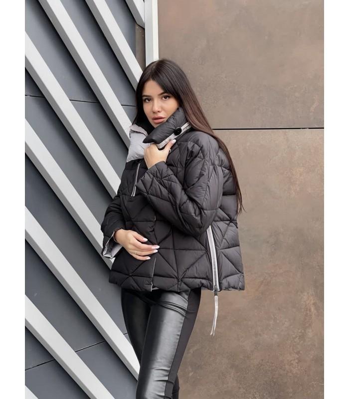 Куртка чорно-сіра в ромби коротка
