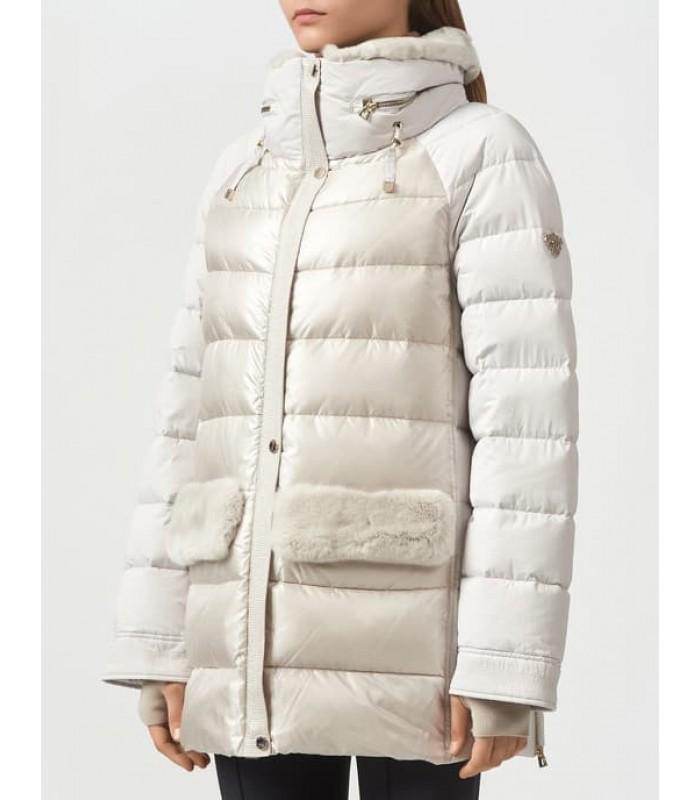 Куртка перлинна з кишенями з хутра
