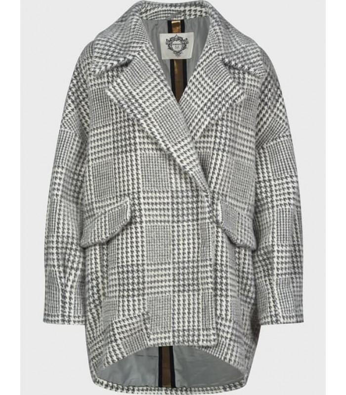 """Пальто сіре з принтом """"гусячої лапки"""""""