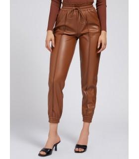 Штани коричневі з еко-шкіри на манжетах - Respected-Person