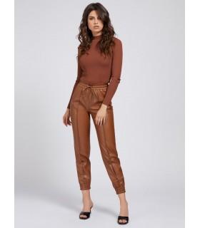 Штани коричневі з еко-шкіри на манжетах 1 - Respected-Person