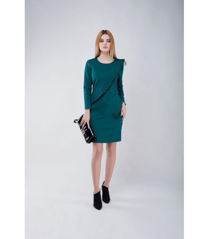 Сукня зелена з подвійним плісе з гіпюром