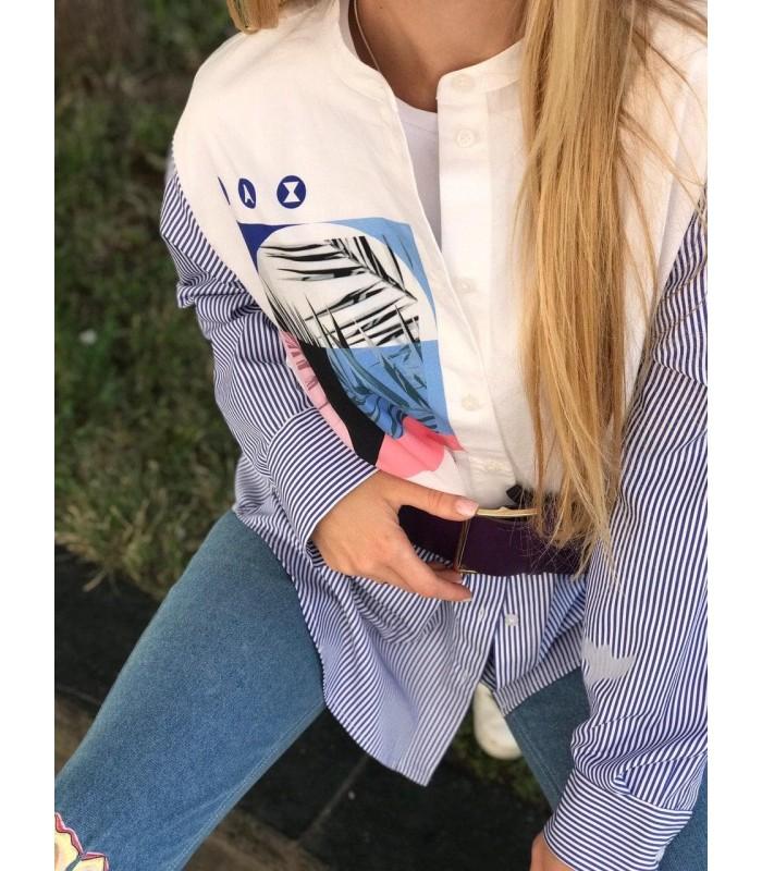 Сорочка біло-синя подовжена