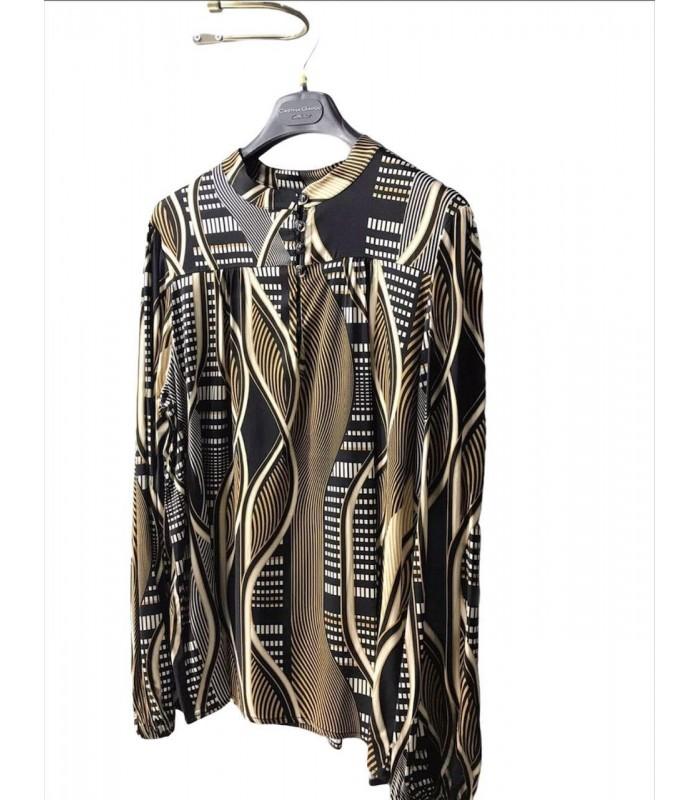 Блуза коричнева атласна