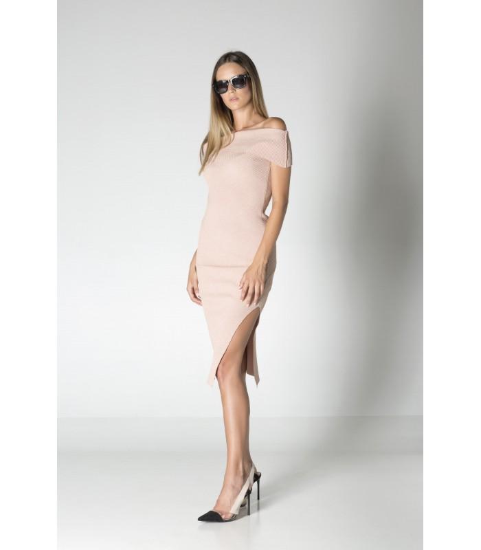 Сукня трикотажна ніжно-рожева з люрексом