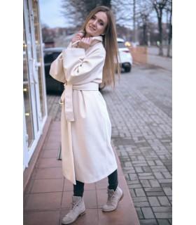 Пальто молочне з поясом - Respected-Person