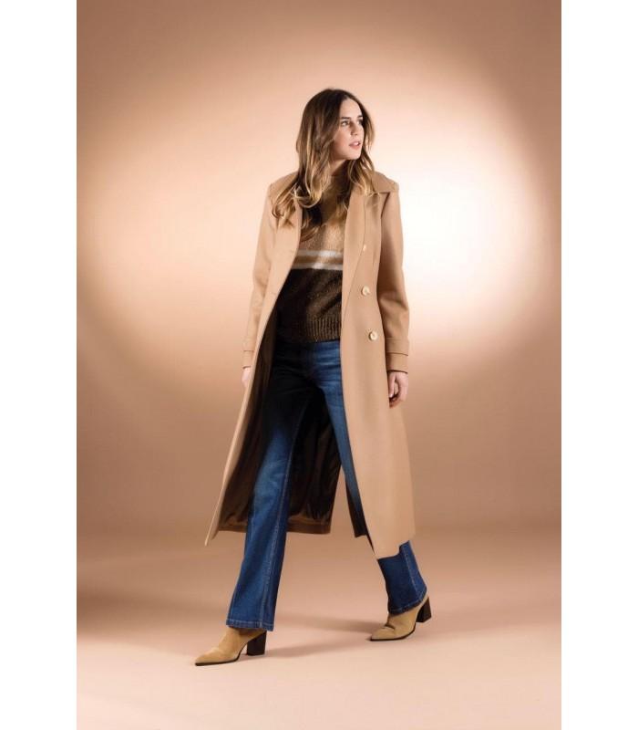 Пальто коричневе приталене